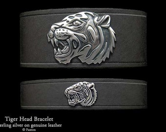 Tiger Head Leather Bracelet Sterling Silver Tiger Head on Leather Bracelet