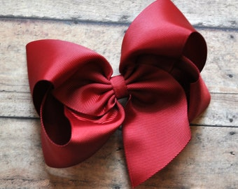 Maroon Big 6 Inch Twisted Boutique Bow