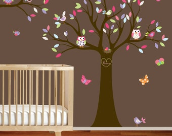 Vinyl Wall Decal Stickers Owl Tree Set with Custom Name Nursery Girl Baby