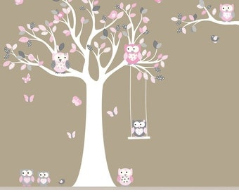 Children's Tree Decal Nursery Wall Stickers Colorful Tree Owl Wall Decal