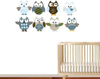 Nursery Wall Vinyl Patterned Owls Decal Set
