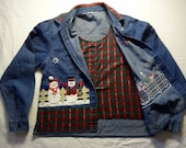Ugly Christmas Sweater - Denim Button Down Shirt with attached Plaid Vest - Large