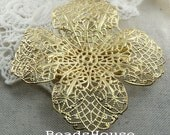 2 pcs Golden Plated  4Petal Filigree Brooch and Hair Clip Base.Nickel Free