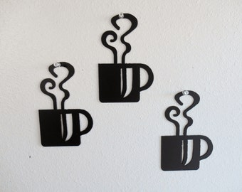 Coffee Mug Trio Metal Wall Decoration