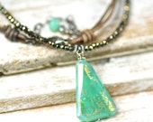 Rustic Boho Leather Mystic Chrysoprase and Pyrite Gemstone Necklace