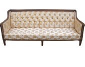 Antique vintage sofa couch retro carved wood ornate tufted Sheraton style price includes upholstery