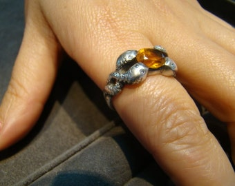 Unique Sterling Silver 4 headed snake ring with Citrine Topaz and diamonds