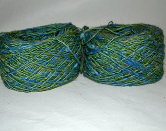 Two vintage skiens of blue green Weaving Yarn