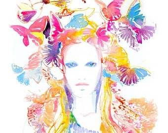 Archival Watercolor Prints, Watercolor Fashion Illustration. Titled: Jaune Spring