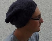 MENS slouch beanie  hat . A  super -soft ,Merino wool / Alpaca blend . ' Graphite' ( other colours available)...ready to ship..