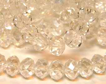 Crystals 6x8 70 pc Full Strand of Translucent Clear Crystals, Faceted Rondelle Glass Beads 6x8mm Crystals Beads 6 mm x 8 mm USA