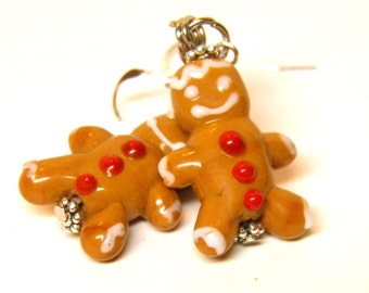 Gingerbread Man Earrings, Sterling Silver and Handcrafted Artisan Lampwork Glass Christmas Earrings, Christmas Jewelry Christmas Cookie OOAK