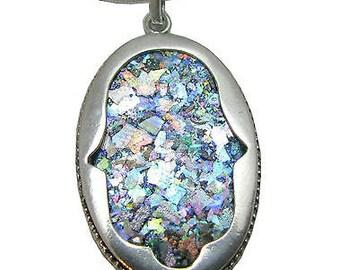 925 Sterling Silver Roman Glass  Hamsa Pendant necklace