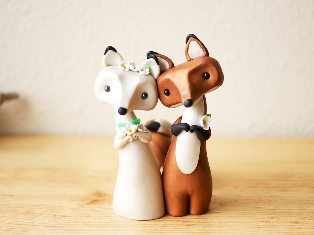 Fox Wedding Cake Topper Red Fox and Arctic Fox by BonjourPoupette