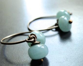 Valentines Day Earrings Aquamarine Earrings, Gemstone Earrings, Dangle Earrings Gift for Her, Earthy Earrings, Drop Earrings, Gift Box