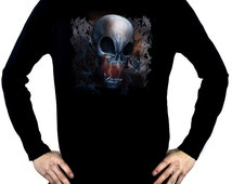 Swarm Of Bats Vampire Skull Men's Long Sleeve T-Shirt