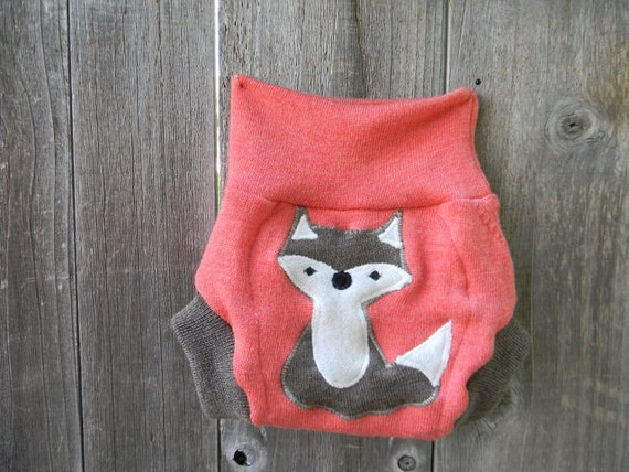 Upcycled Wool Soaker Cover Diaper Cover With Added Doubler Coral / Brown With Fox  Applique SMALL 3-6M Kidsgogreen