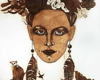 Etching / limited edition original etching (printmaking / graphic art) / original print / original art / woman art - 'Bird-fancier 2'