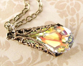 Clear Crystal Necklace Swarovski Aurora Borealis Crystal Necklace Antique Gold Necklace Victorian Necklace