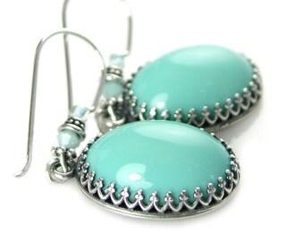 Turquoise Blue Earrings Czech Glass Earrings Vintage Style Antique Silver Earrings Pastel Opal Blue Earrings