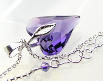 Tanzanite Heart Necklace Sterling Silver Swarovski Purple Crystal Heart Necklace Purple Heart Pendant Necklace