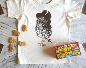 Kids Tshirt - Organic Cotton Toddler Shirt - American Apparel Kids Shirt - Screenprint Tshirt - Woodland Owl - Toddler Tee - Kids Clothes