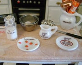 SUGAR FLOUR Filled Glass JAR - Porcelain Les Fraises - French Cheese Plate - Creamer - Dollhouse Miniature 1:12 Scale