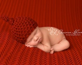 Newborn Knot Hat in Red Baby Photography Prop