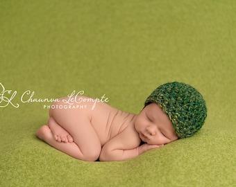 Newborn Beanie Hat Mohair Green