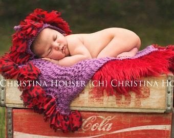 Red Mongolian Fur Rug Nest Photography Photo Prop 20x13 Newborn Baby Toddler Mat Backdrop Floordrop