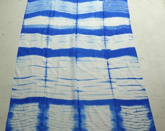 silk ponge shibori wallhanging or scarf 'waves'
