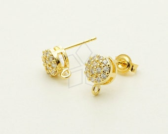 SI-541-GD / 2 Pcs - Mini Jewel Cubic Stud Earrings, Gold Plated, with .925 Sterling Silver Post / 6mm