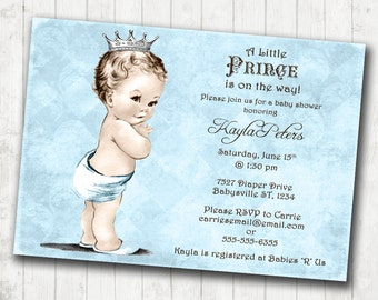 Vintage Baby Shower Invitation For Boy - Prince - Crown - Blue -DIY Printable