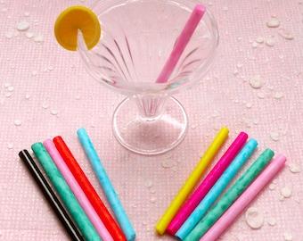 Dollhouse Miniature Straw / Glass Stick (10pcs by Random / Colorful) Fake Sweets Craft Kawaii Ice Cream Sundae Making DIY Mini Beverage MI06
