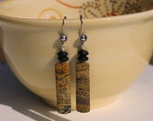 Wild Horse Jasper Earrings with Matte Onyx Rondelles and Silver Earwires