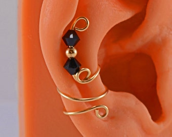 Gold Filled Cartilage Earring Swarovski Bicone Jet Ear Cuff Wrap