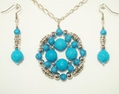Turquoise and Silver Pendant and Earrings Set