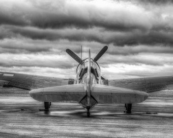 Airplane Art, Curtis Helldiver Airplane, Black and White Fine Art Photography, Aluminum Print, Ready to Hang Art