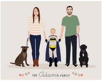 Custom Family Portrait, personalized portrait