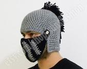 Black Silver Grey boyfriend gift Knight Helmet husband gift Gift Christmas Beanie Hat Handmade Winter Men Snowboard Ski unisex