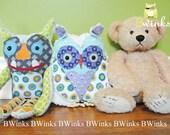 Original Plush stuffed Owl Toy -  Nursery Decor - Limited