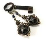 Victorian Button Jewelry Antique Button Earring - Iron Star - Edwardian Hematite Silver Star Cross in Brass