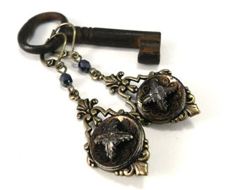 Victorian Button Jewelry Antique Button Earring - Iron Star - Edwardian Hematite Silver Star Cross in Brass