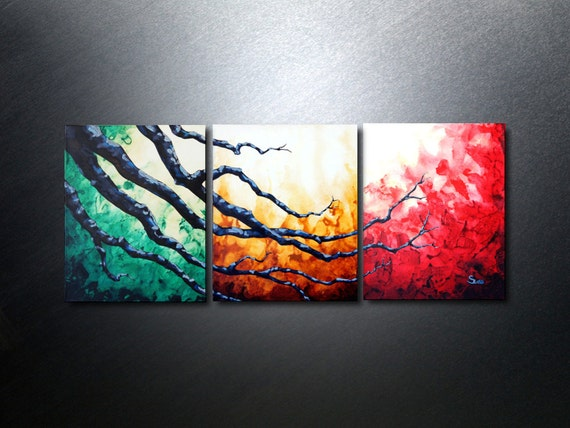 3 piece wall art abstract acrylic painting triptych wall