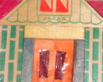 Vintage Japan House Storefront Wood Block Small Puzzle in Original Package