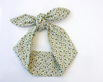 Dolly bow headband green floral tie up headscarf cotton  rockabilly pinup 50s