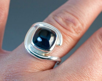 London Blue Topaz Big Cabochon Sterling Silver Ring, Deep Blue Beautiful Topaz Gemstone, One of a Kind Ring Ready to Ship, size 8