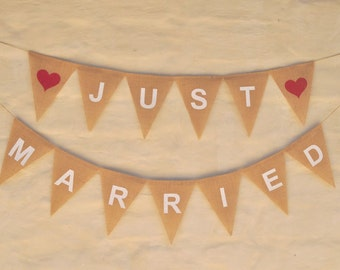 JUST MARRIED Wedding decoration Hessian Burlap Wedding Celebration Party Banner Bunting Decoration rustic boho shabby photo prop
