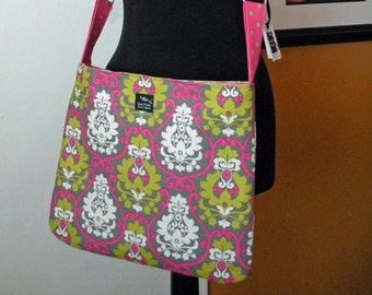 Washable Pink Green Gray Damask Flowers  Polka Dots Fabric Messenger Ipad Hip Passport Bag Crossbody Small Purse Tote