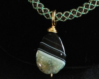 Black Crystal Pearl with Agate and Quartz Focal
